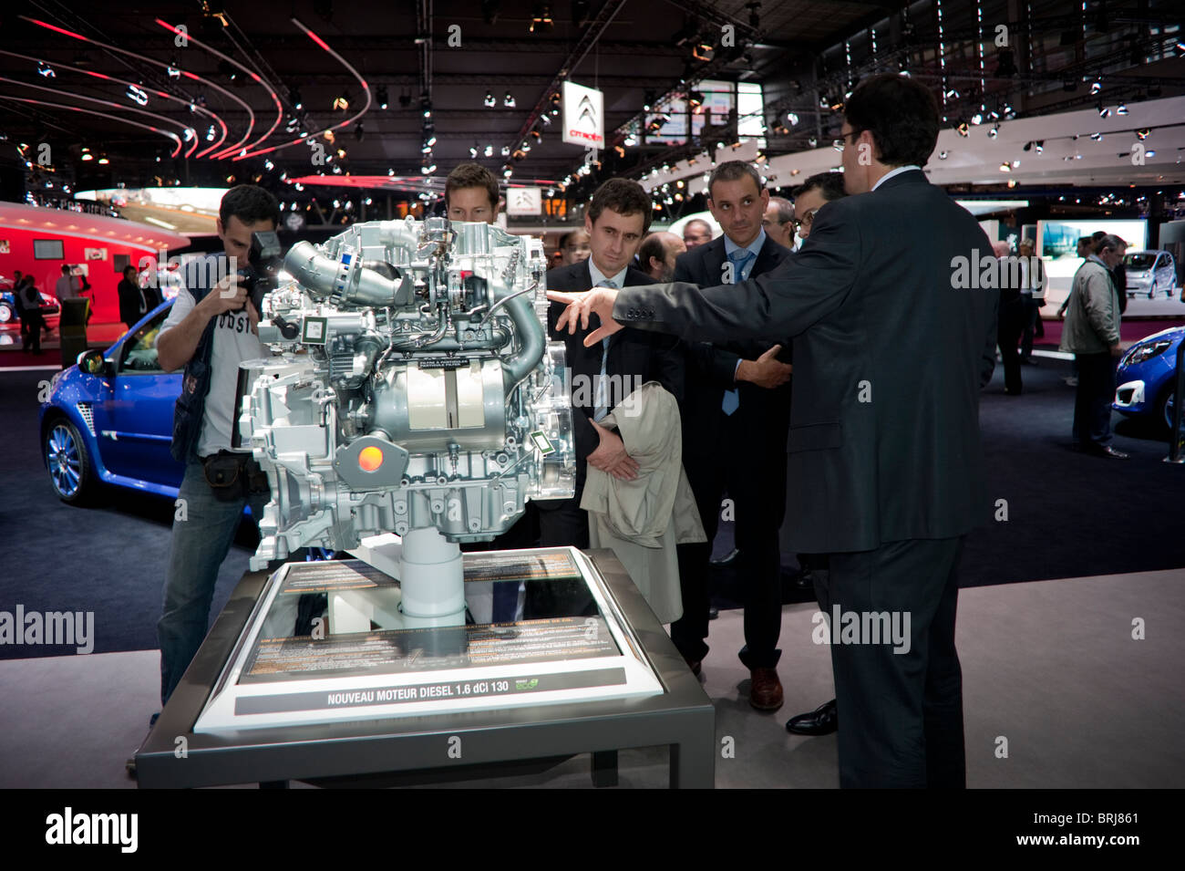Paris, France, Businessmen Visiting Paris Car Show, Renault Car Motor Stock Photo