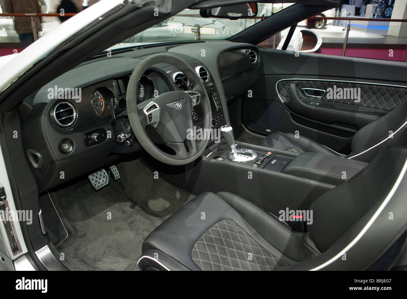 Paris, France, Paris Car Show, Bentley, Luxury Sedans, Continental Flying, Inside Dashboard, Detail, Steering Wheel Stock Photo