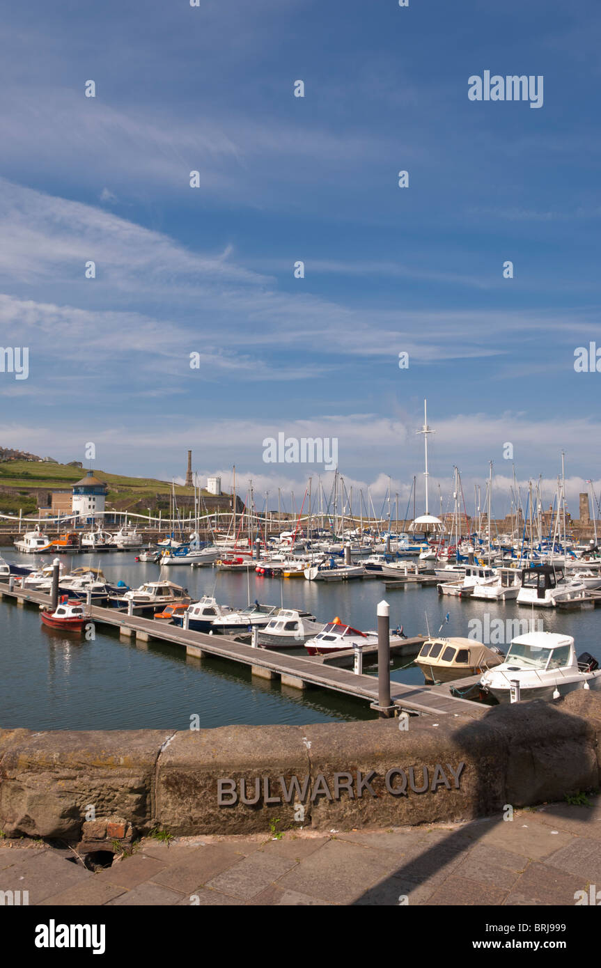 Boats in Bulwark Quay at Whitehaven marina and harbour on the west coast of Cumbria , England , Great britain , - Stock Image