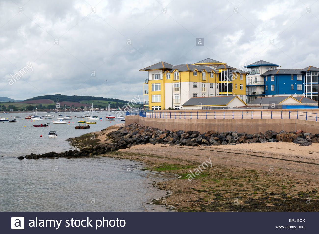 Cloudy day view of the River Exe at Exmouth in Devon, England - Stock Image