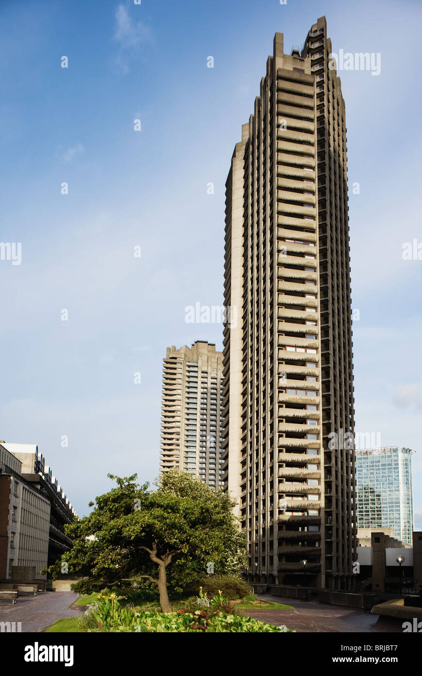 1960's residential tower block in the Barbican Estate London UK - Stock Image