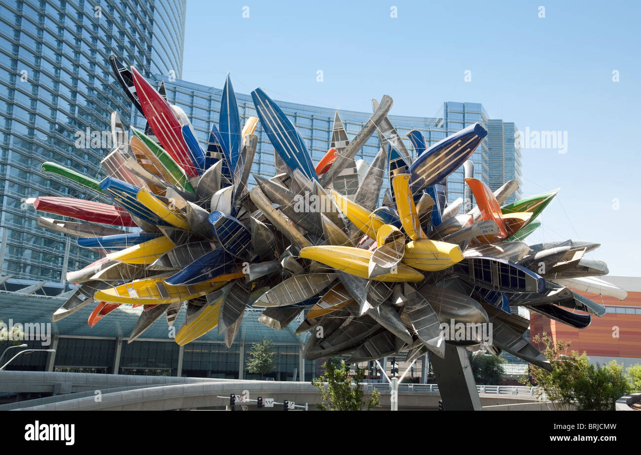The canoe sculpture in front of the Aria Hotel, Citicenter, Las Vegas USA - Stock Image