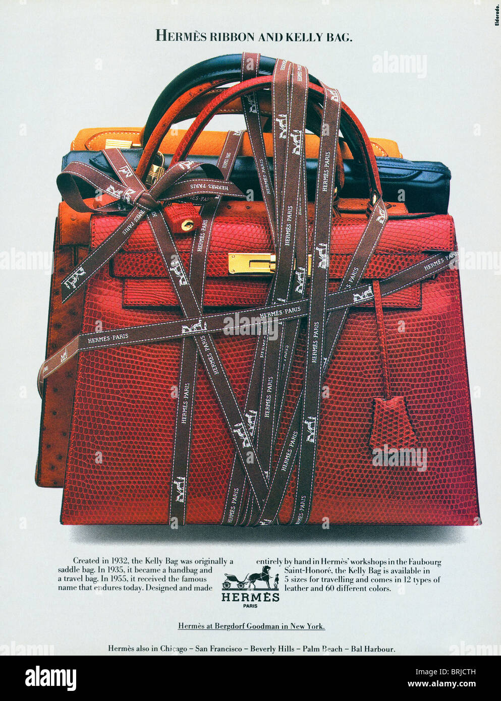 Color advertisement for Hermes leather handbags and travel bags in American  fashion magazine circa 1983 541c926e69fa6