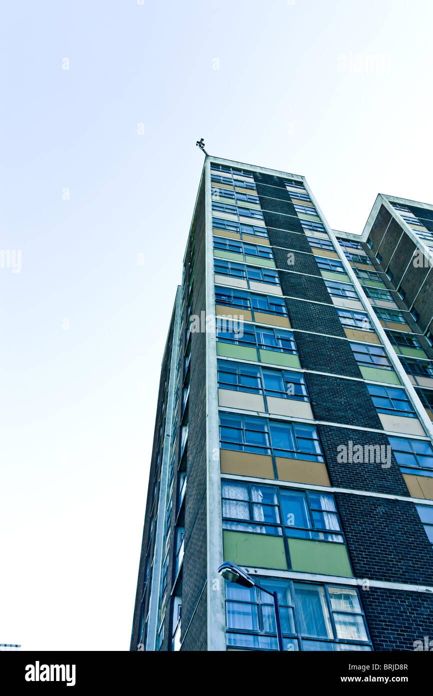 CCTV cameras atop of a dilapidated 1960' hi rise tower block. - Stock Image