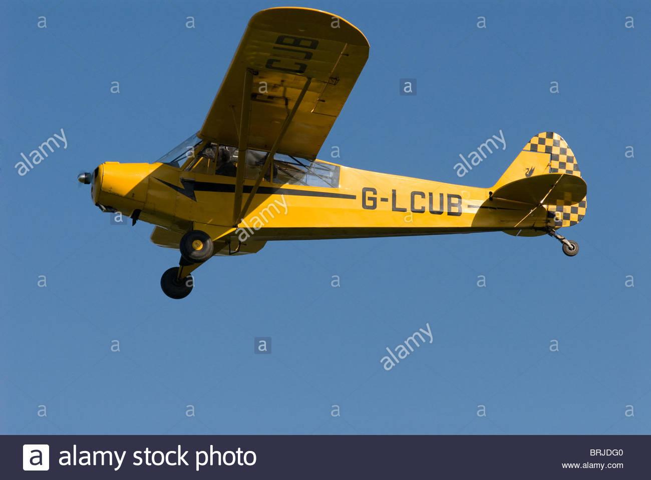 Piper Cub at headcorn aerodrome in Kent - Stock Image