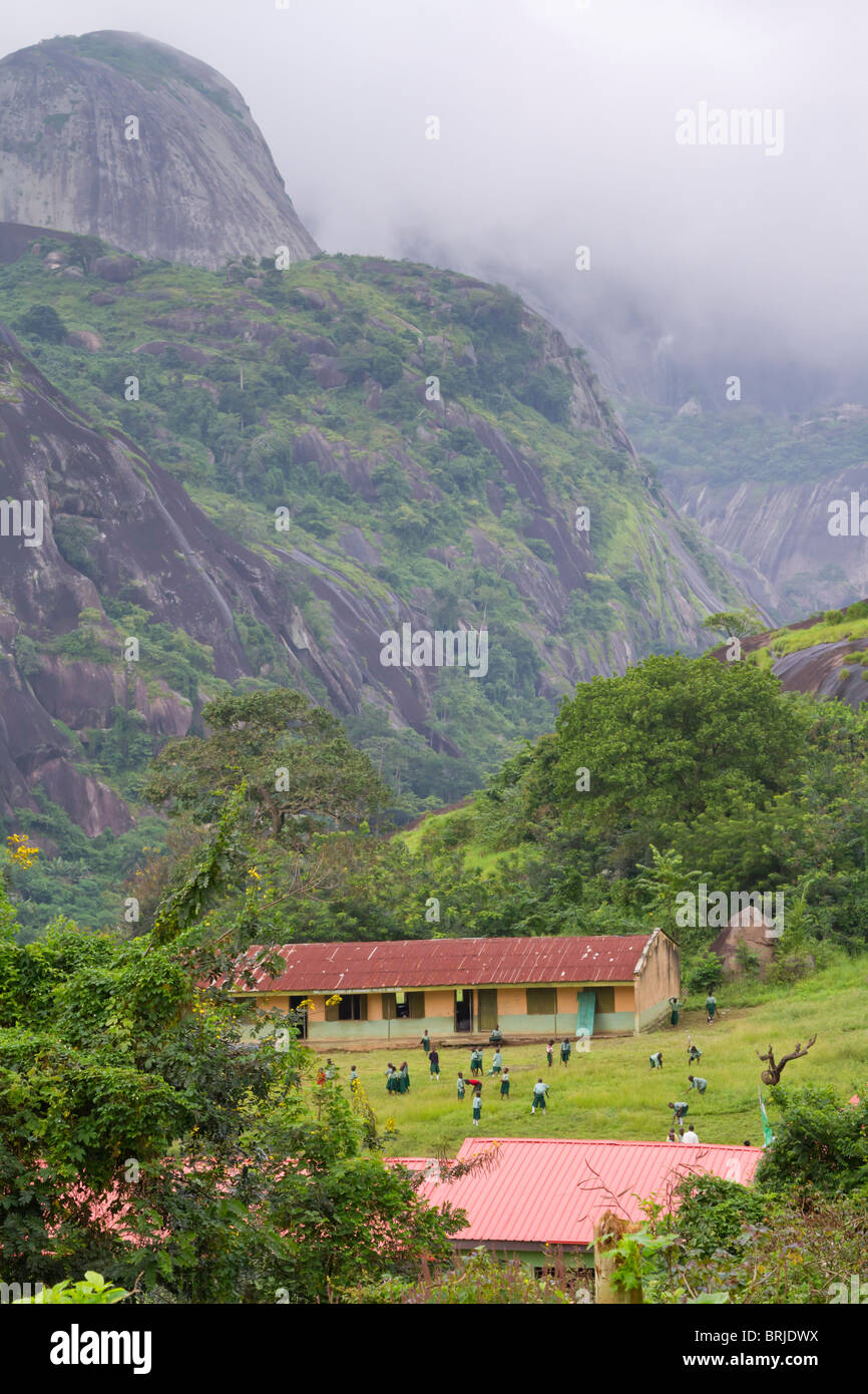 A rural school in remote mountain area of Nigeria. - Stock Image
