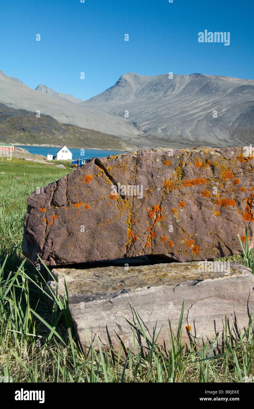 Greenland, Igaliku (aka Igaliko). Ruins of Gardar. Stock Photo
