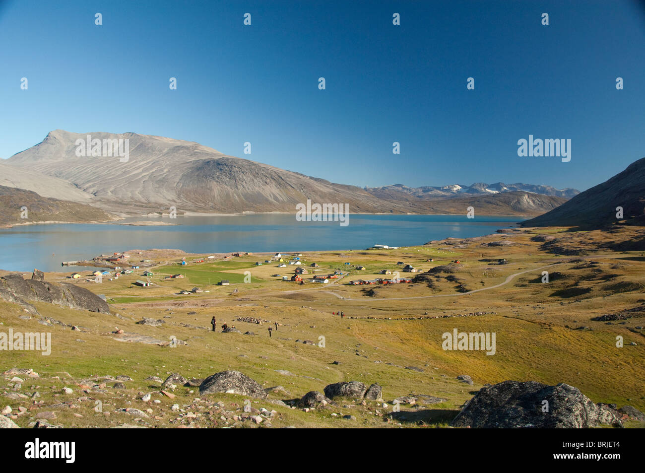 Greenland, Igaliku. Small settlement on the Igaliku Fjord. Best known for ruins of Gardar. - Stock Image