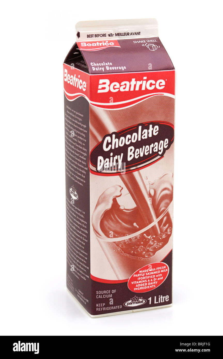 Carton of Cold Chocolate Dairy Beverage - Stock Image