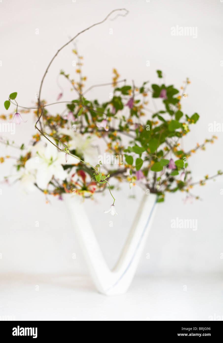 Ikebana or Japanese flower art in \u0027V\u0027 shaped vase with white background.  sc 1 st  Alamy & Ikebana or Japanese flower art in \u0027V\u0027 shaped vase with white Stock ...