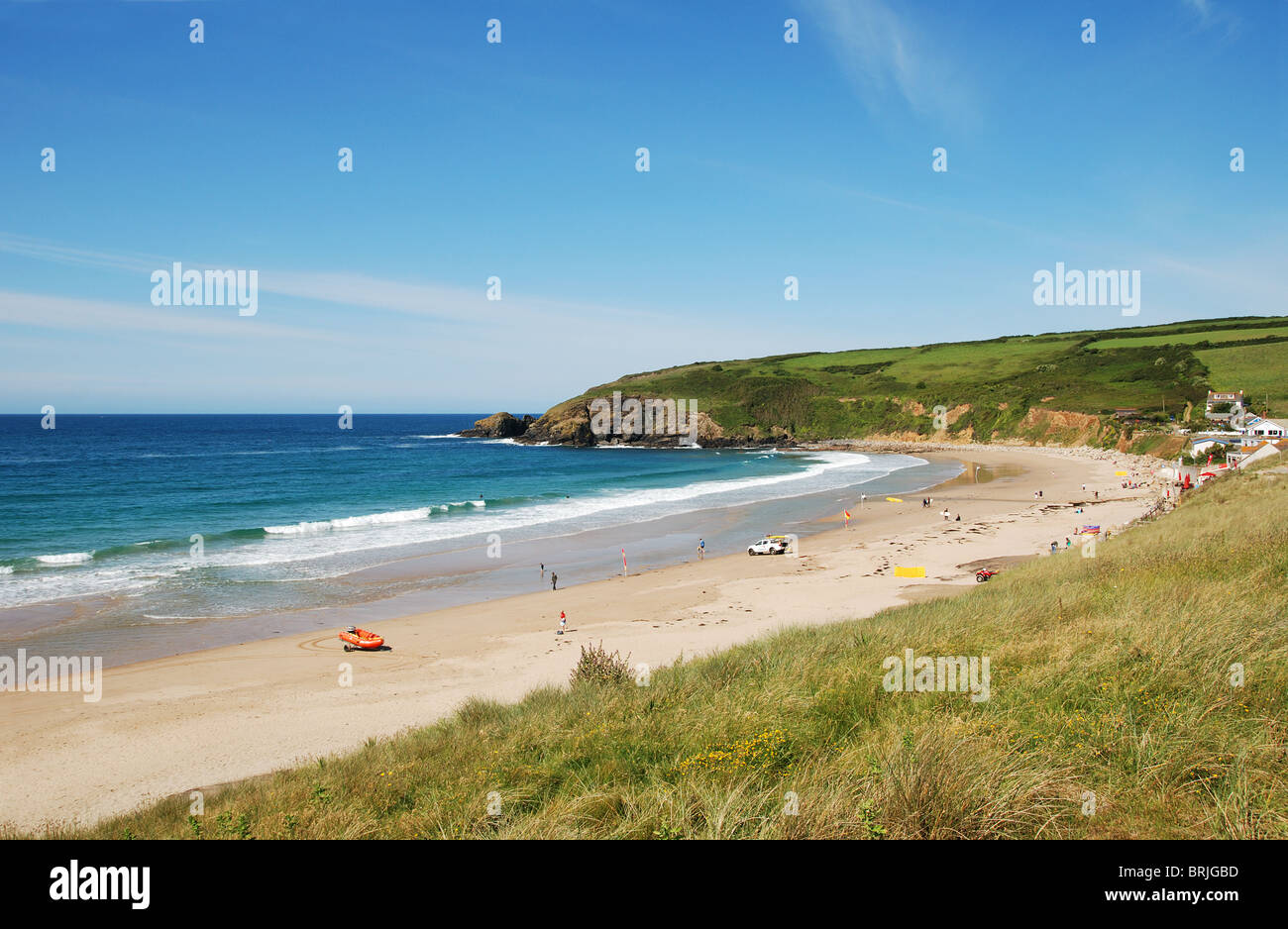 the beach at praa sands in cornwall, uk - Stock Image