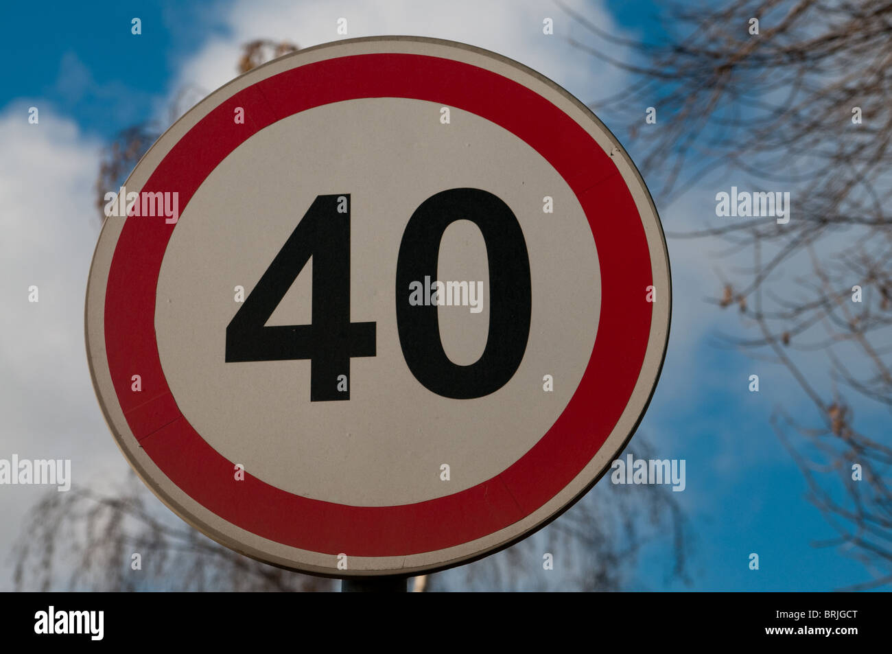 This is russian road sign of the speed limit - Stock Image