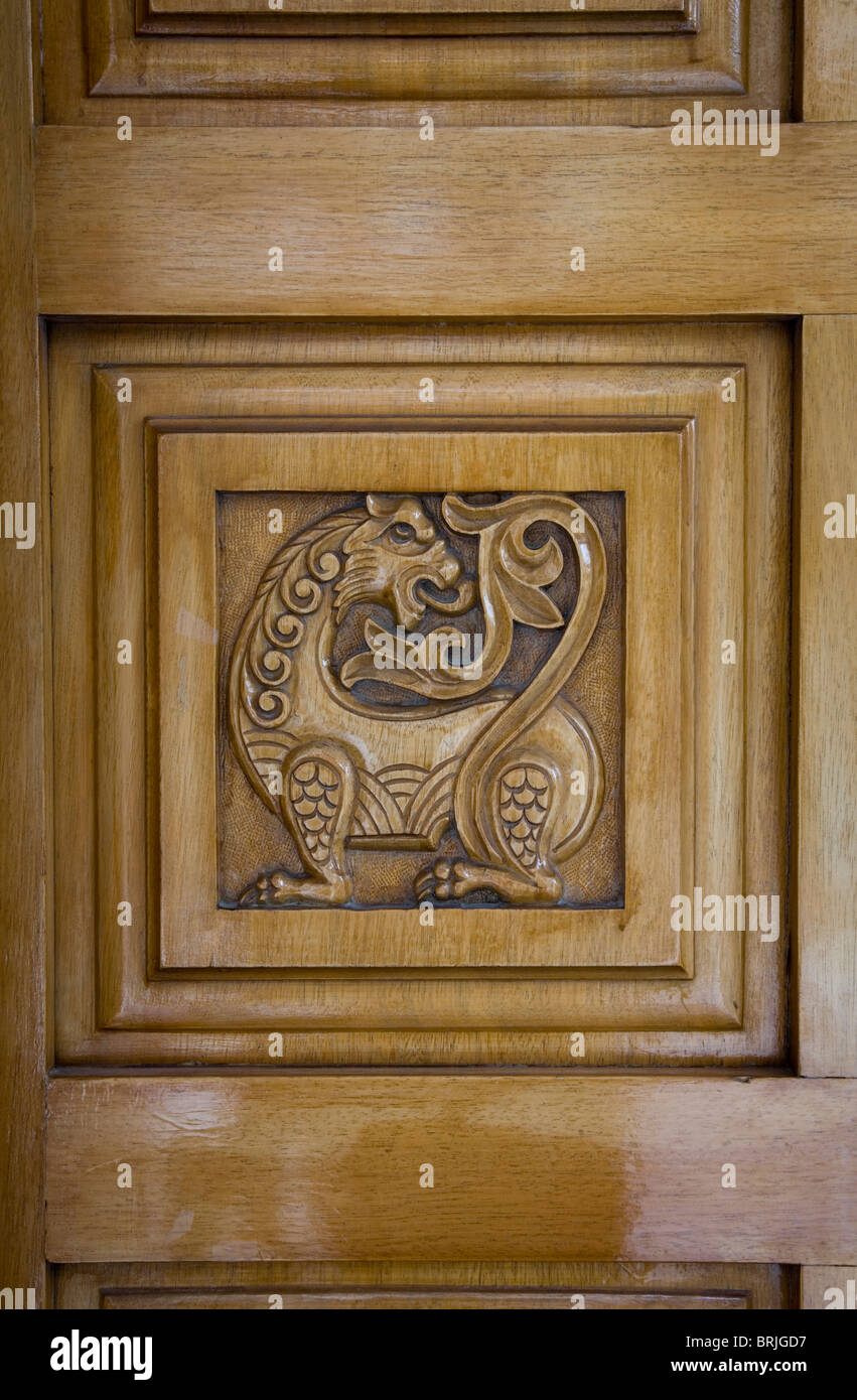 Lion dragon animal engraving wooden Christian church door square decoration symbol brown art Christianity anaglyph beast figure & Lion dragon animal engraving wooden Christian church door square ...