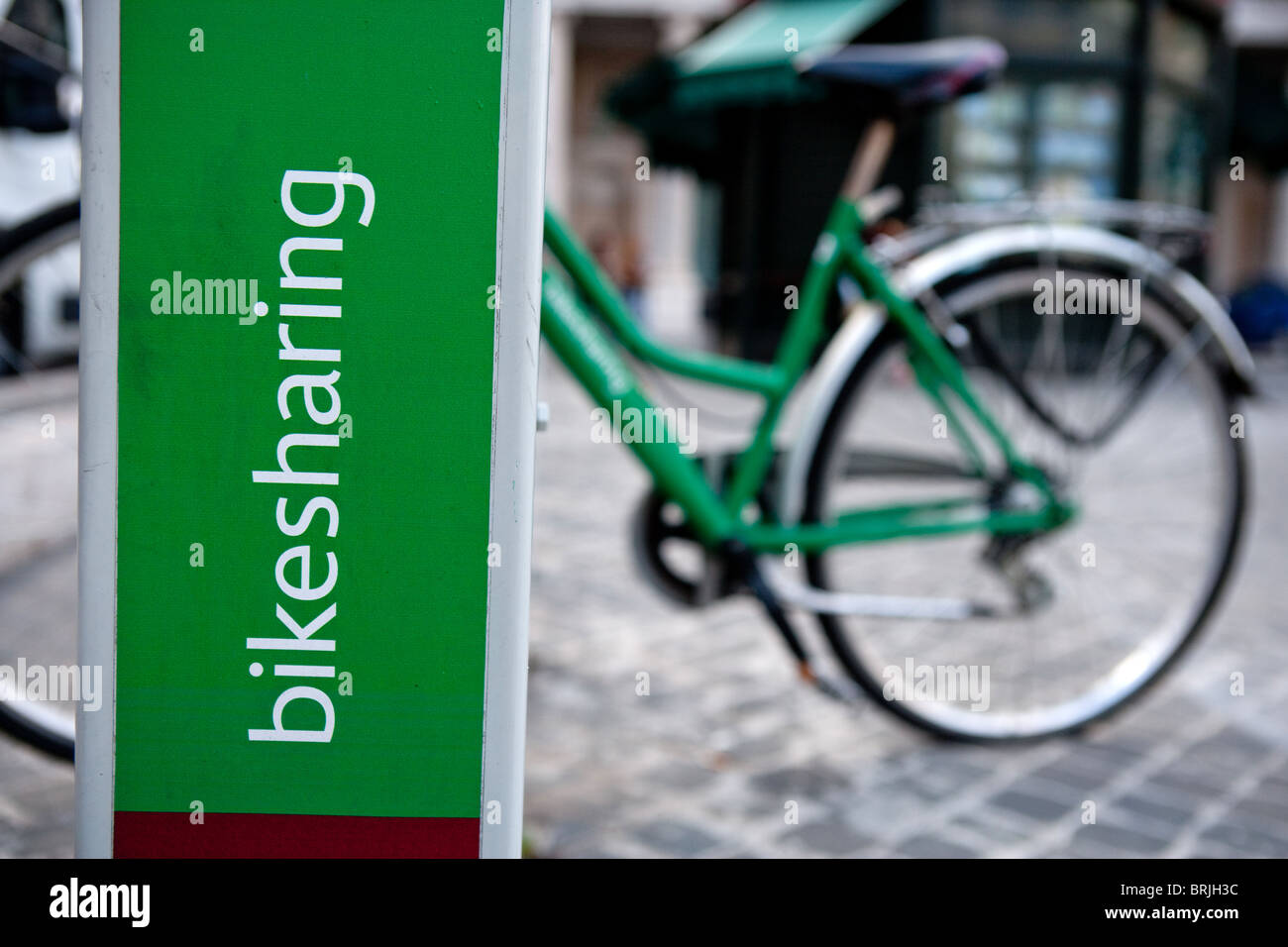Rome Italy Bikesharing Bicycles for hire cycling urban transportation - Stock Image