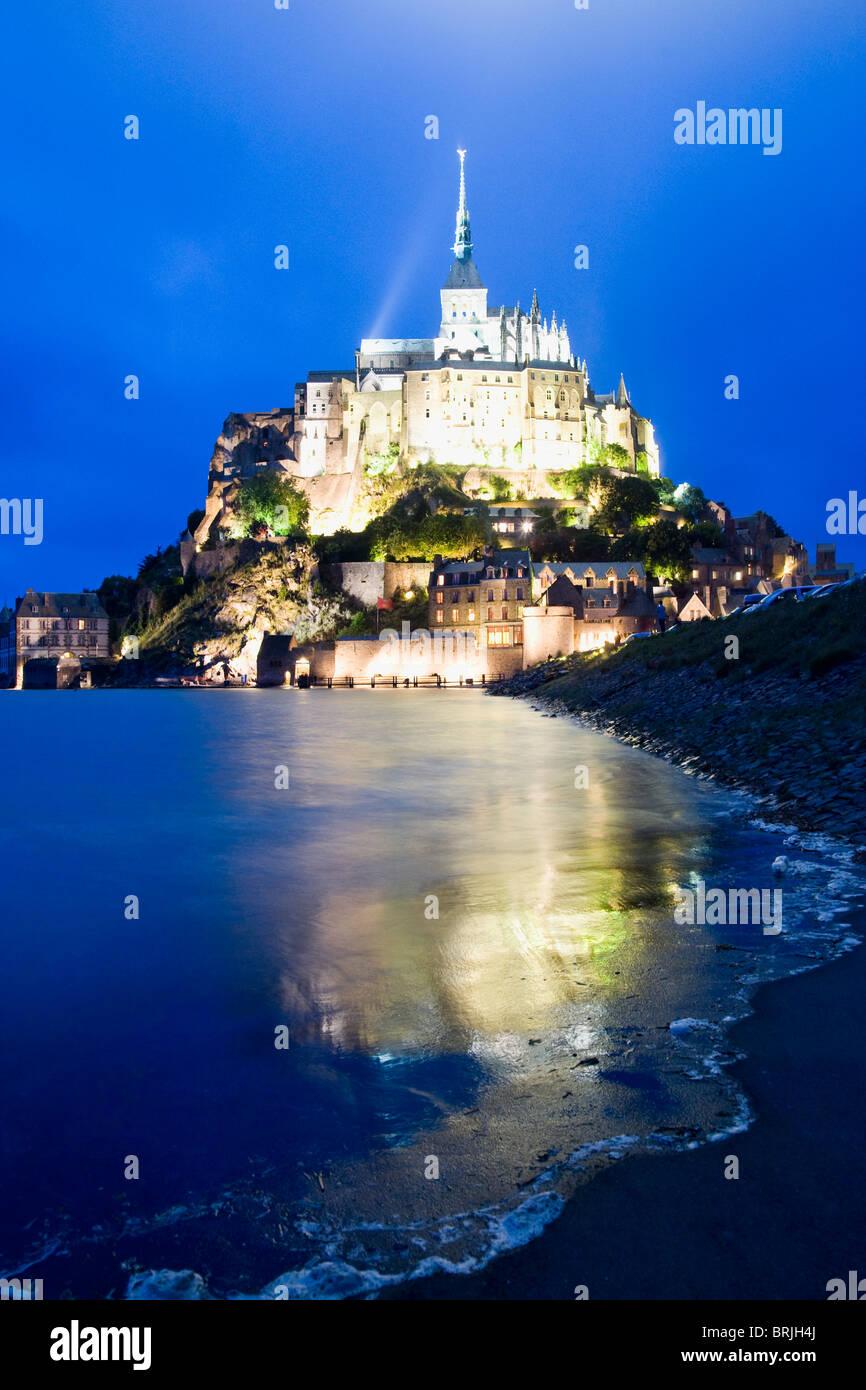 Le Mont Saint Michel, Dusk, Normandy, France Stock Photo