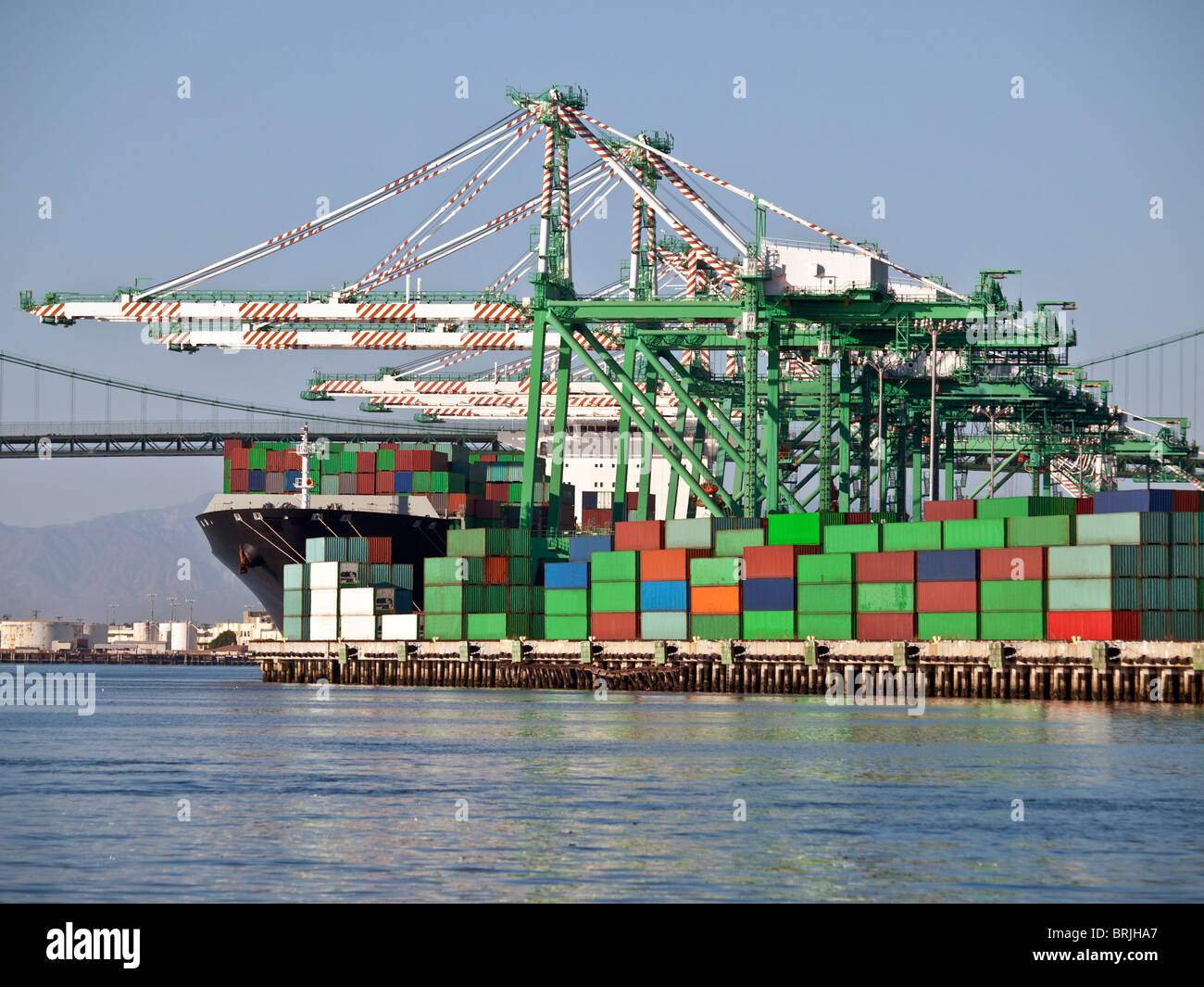 Containers, cranes, bridge and ship in warm late afternoon light. Stock Photo