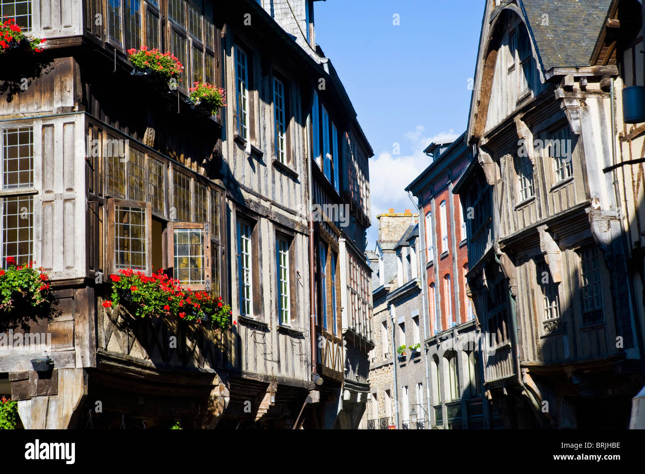 Buildings, Dinan, Brittany, France Stock Photo