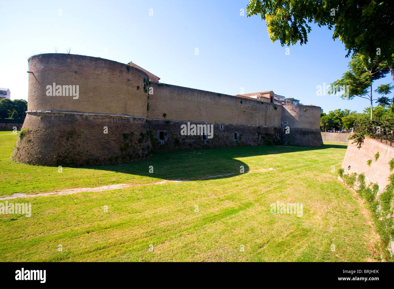 View of Rocca Costanza - a medieval fortress in Pesaro, Marche, Italy - Stock Image