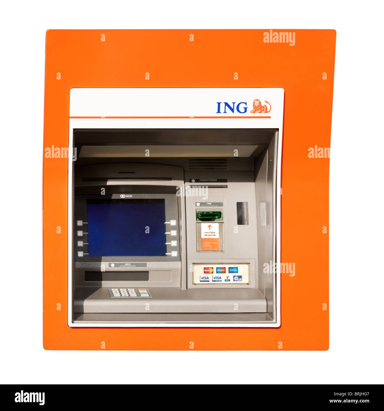 Dutch ING bank ATM machine in Holland The Netherlands, with Cirrus Maestro MasterCard and Visa. cut-out cut out - Stock Image