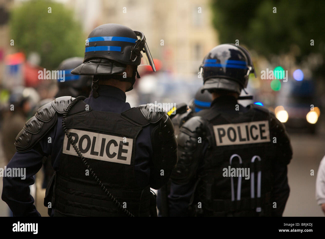 CRS riot police in Paris' Belleville after troubles with Chinese demonstrators Photograph by Owen Franken - Stock Image