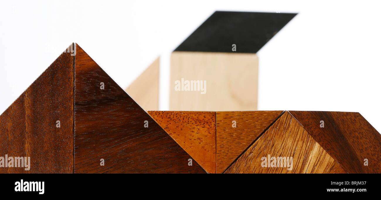 Wooden geometric shapes - Stock Image