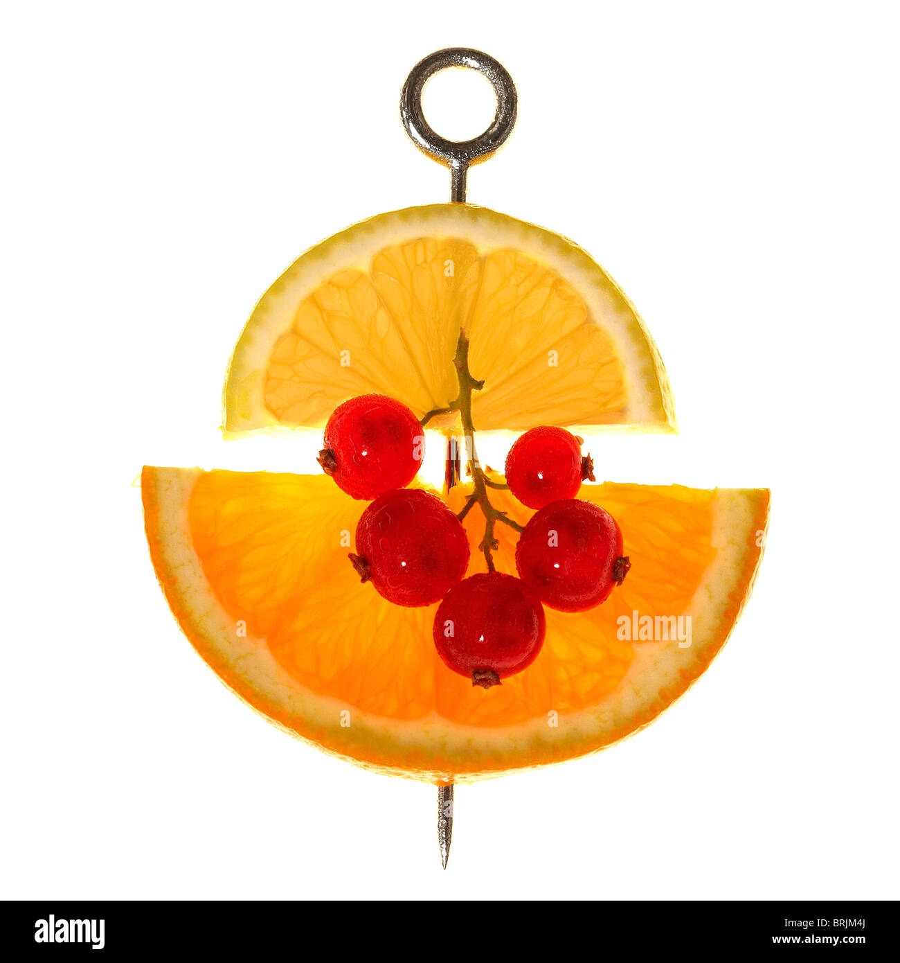 Orange, lemon, and red currants on skewer - Stock Image