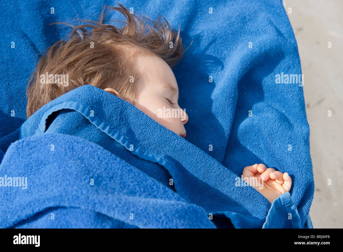 Baby Boy Napping Stock Photo