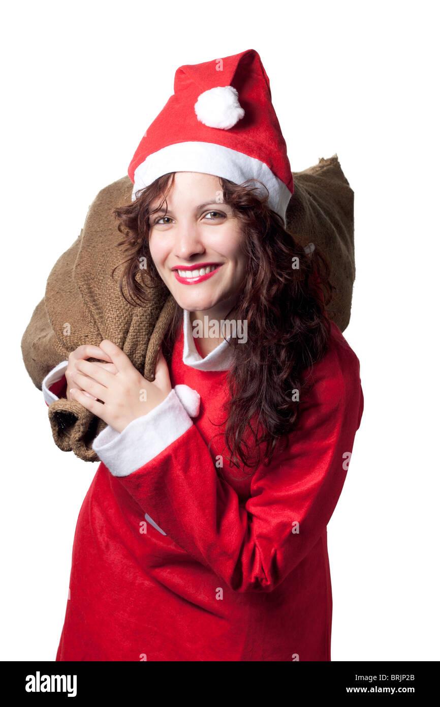 Santa Woman Carrying a Sack - Stock Image