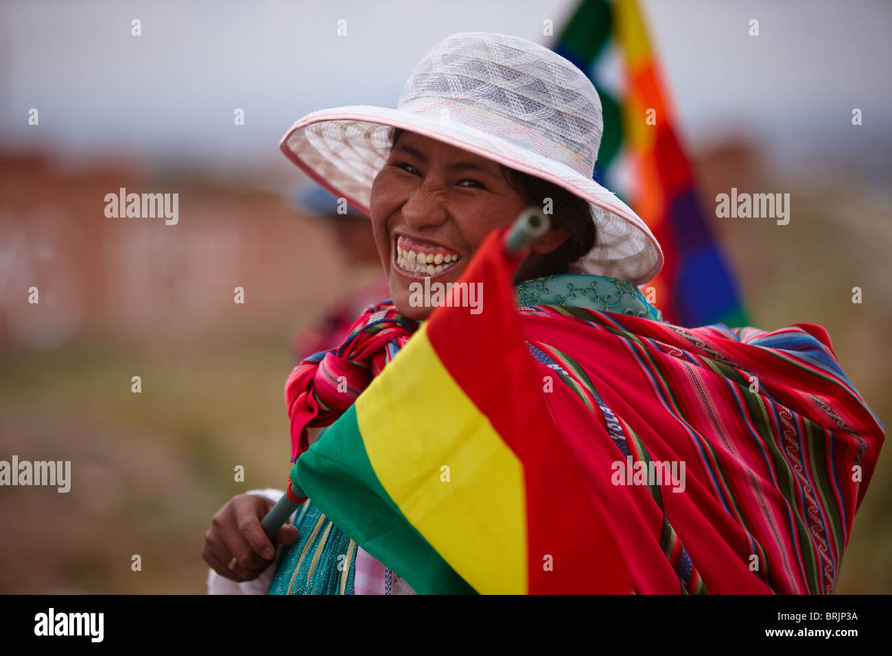 a woman at a political rally, La Paz, Bolivia - Stock Image