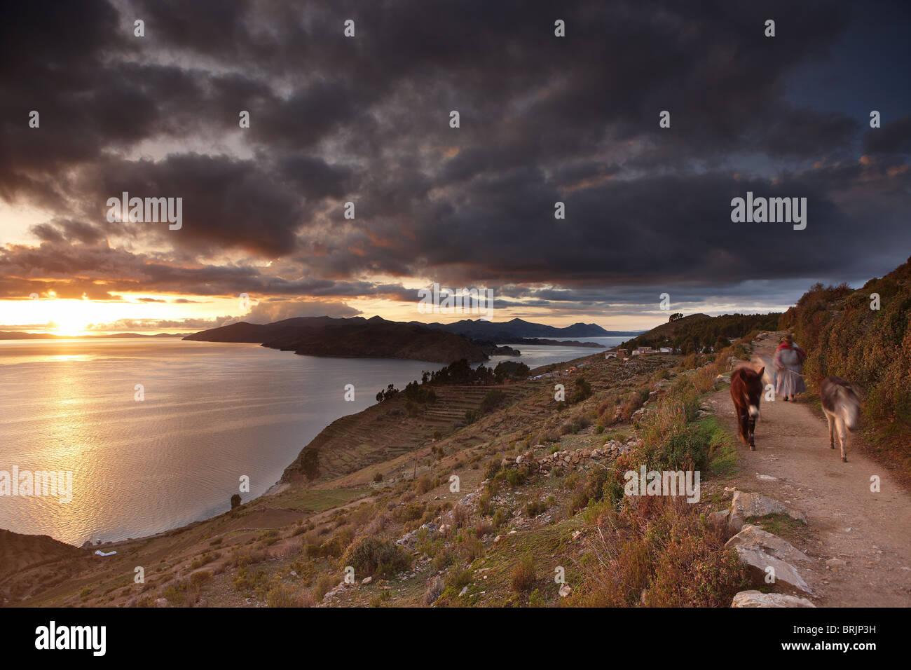 Lake Titicaca at dawn, Bolivia - Stock Image