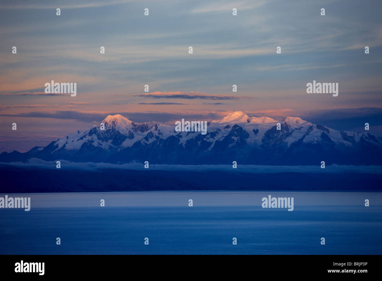 the Cordillera Real in the Andes from Lake Titicaca, Bolivia - Stock Image