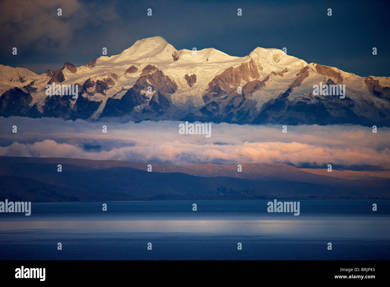 the Andes from Lake Titicaca, Bolivia - Stock Image