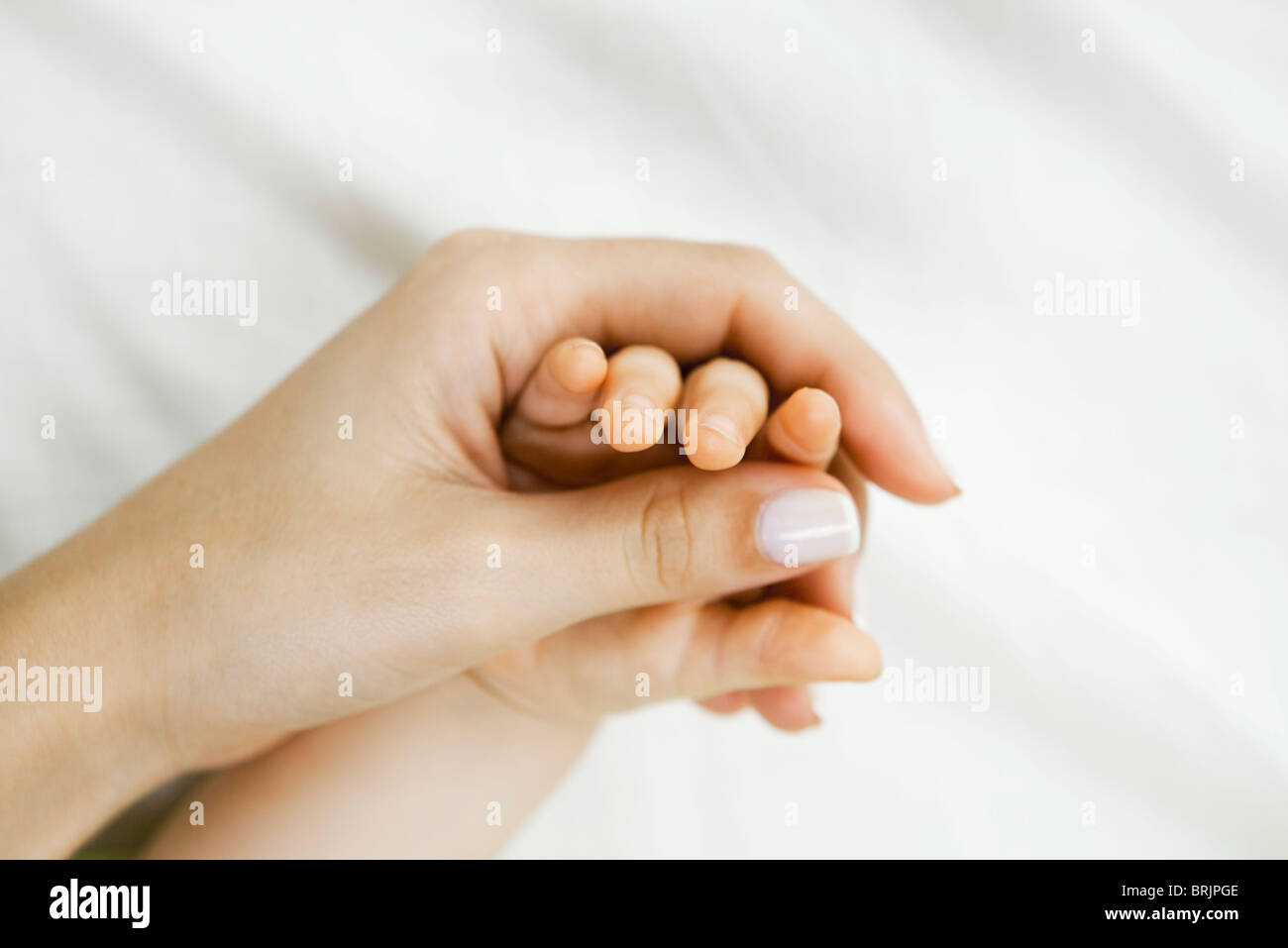 Mother holding infant's hand, close-up - Stock Image