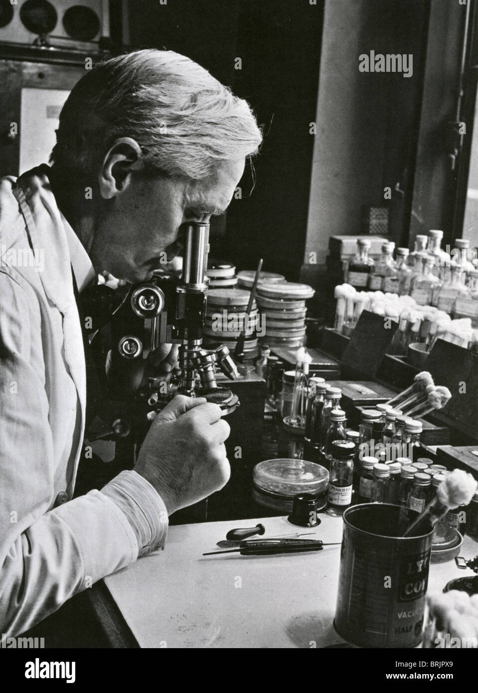 SIR ALEXANDER FLEMING (1881-1955) Scottish biologist/pharmacologist in his laboratory at St Mary's Hospital, - Stock Image