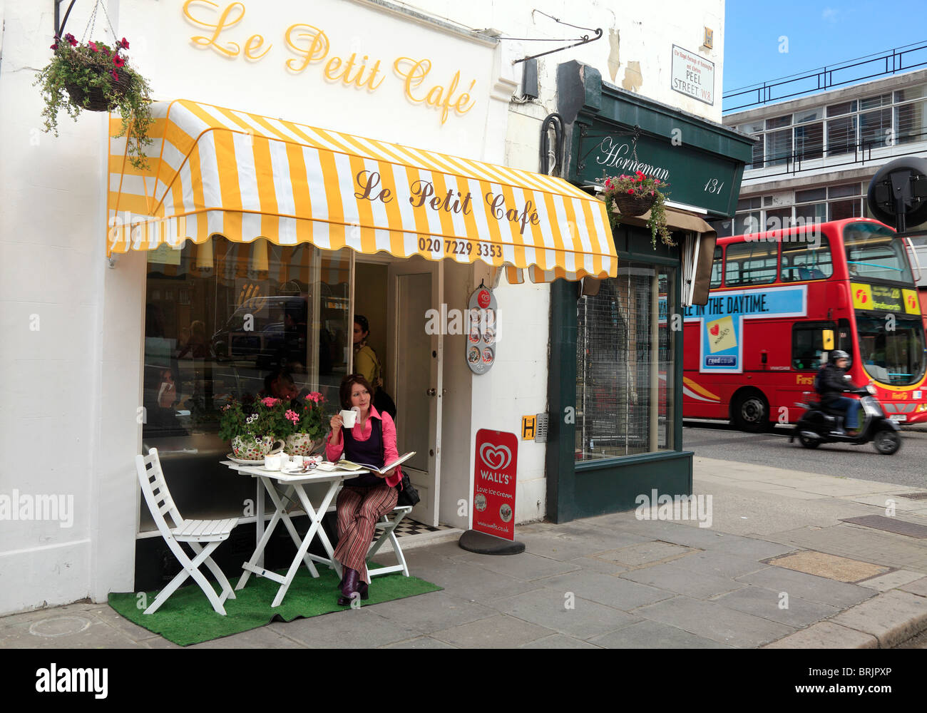 French Cafe in Notting Hill Gate Kensington London - Stock Image
