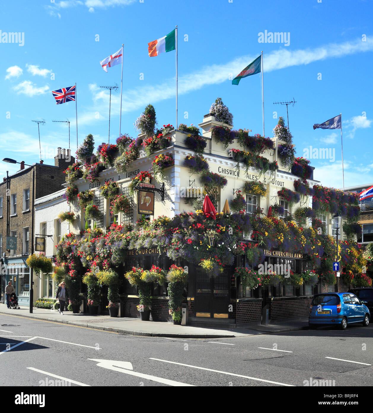 The Churchill Arms Pub in Kensington Church Street London - Stock Image