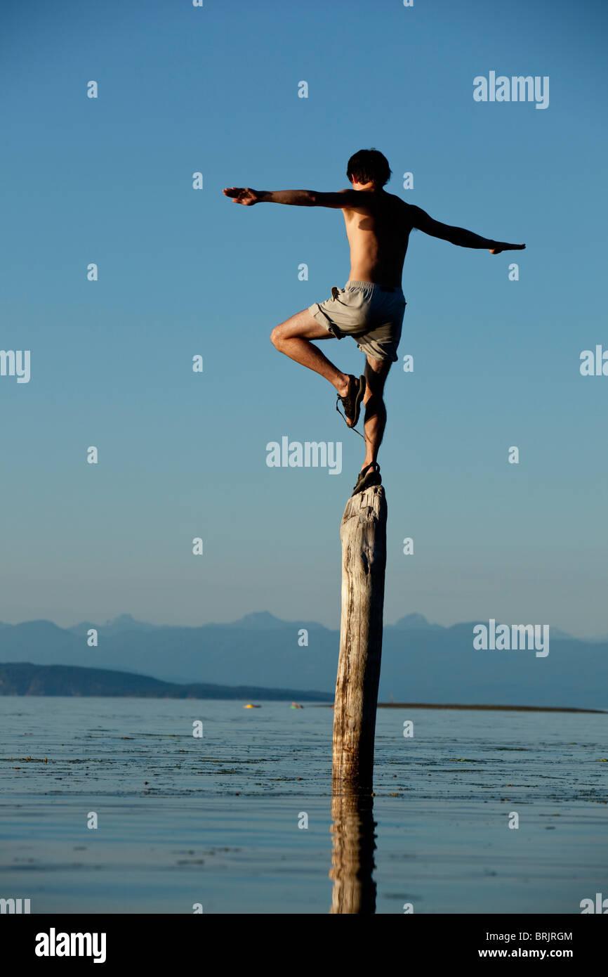 Man balances on log in British Columbia. - Stock Image