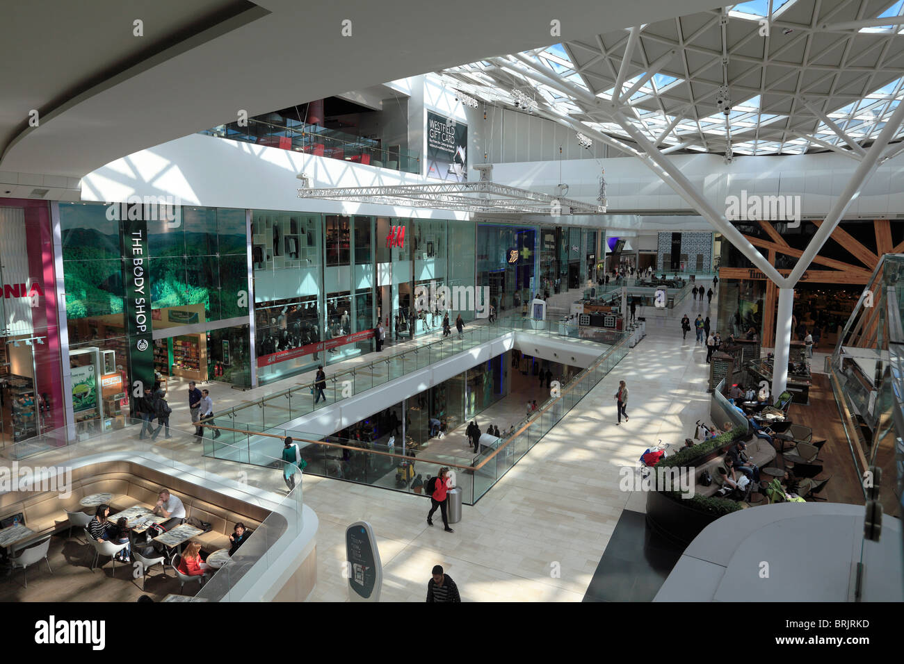 Inside Westfield shopping centre in London Stock Photo