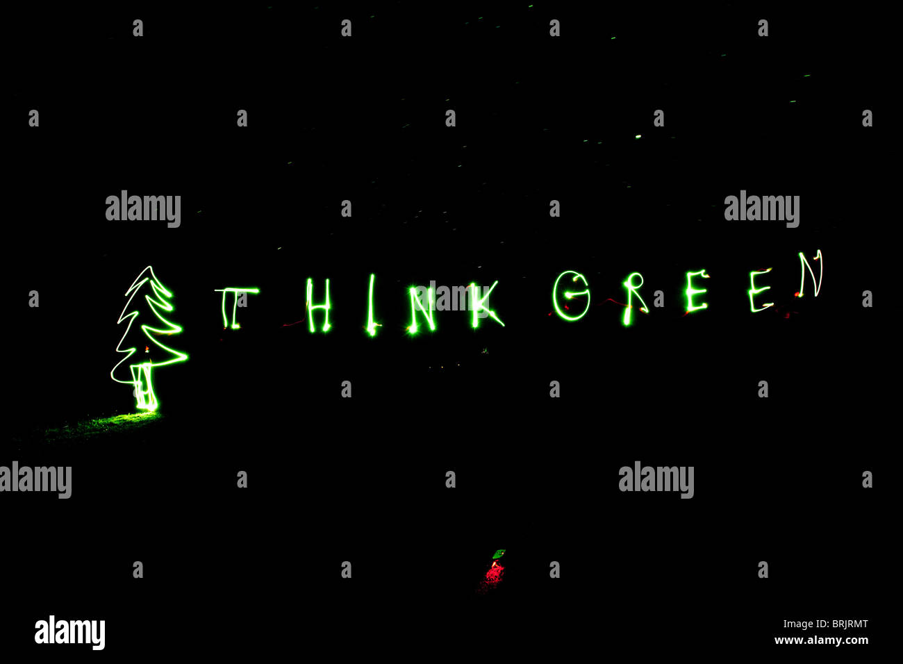 Light painting spelling Think Green in Idaho. - Stock Image