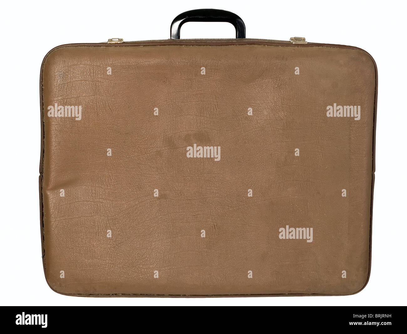 Antique brown trunk on white background, travel concept - Stock Image