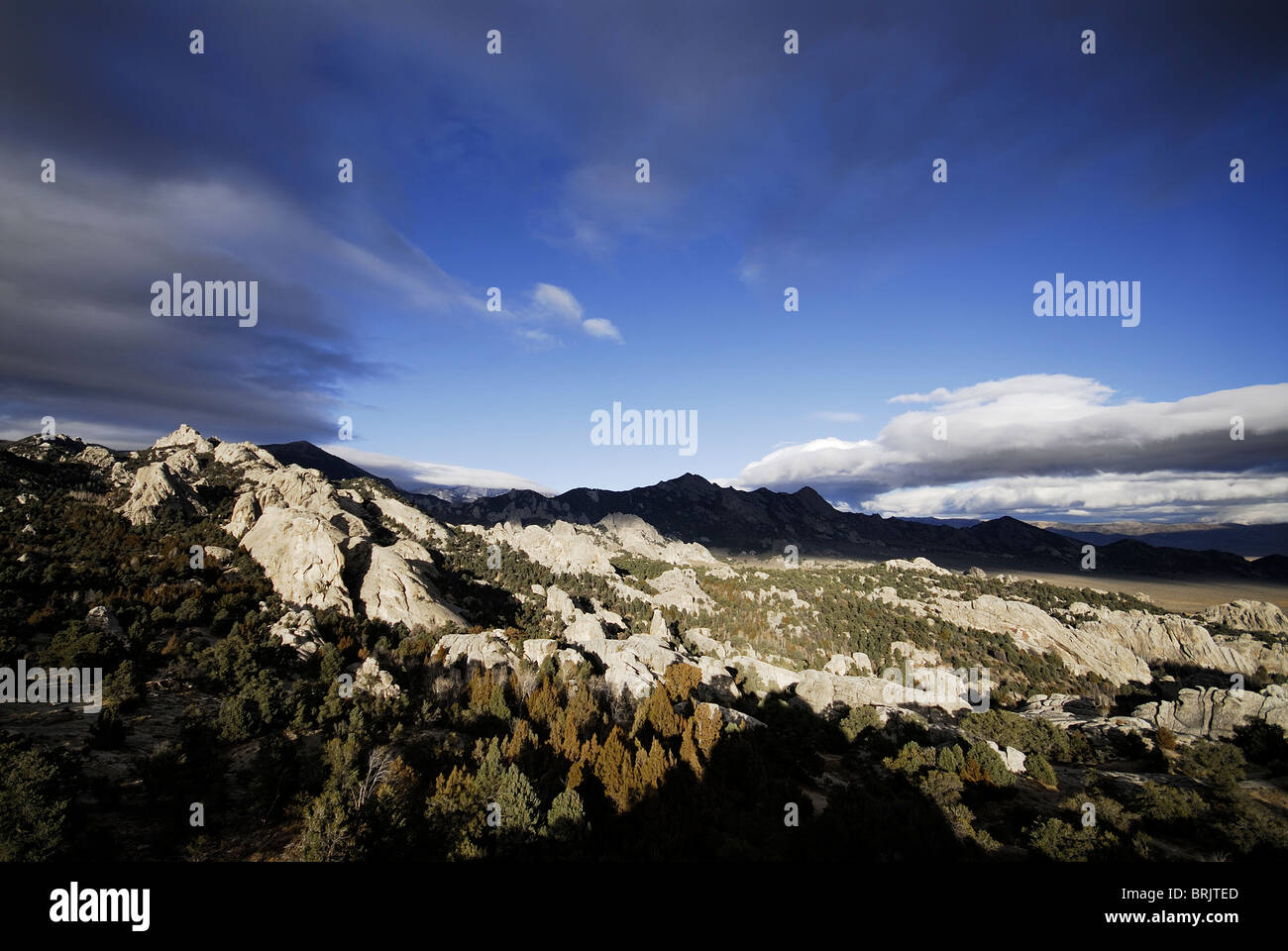 View of a vally in the City of Rocks, Idaho. - Stock Image
