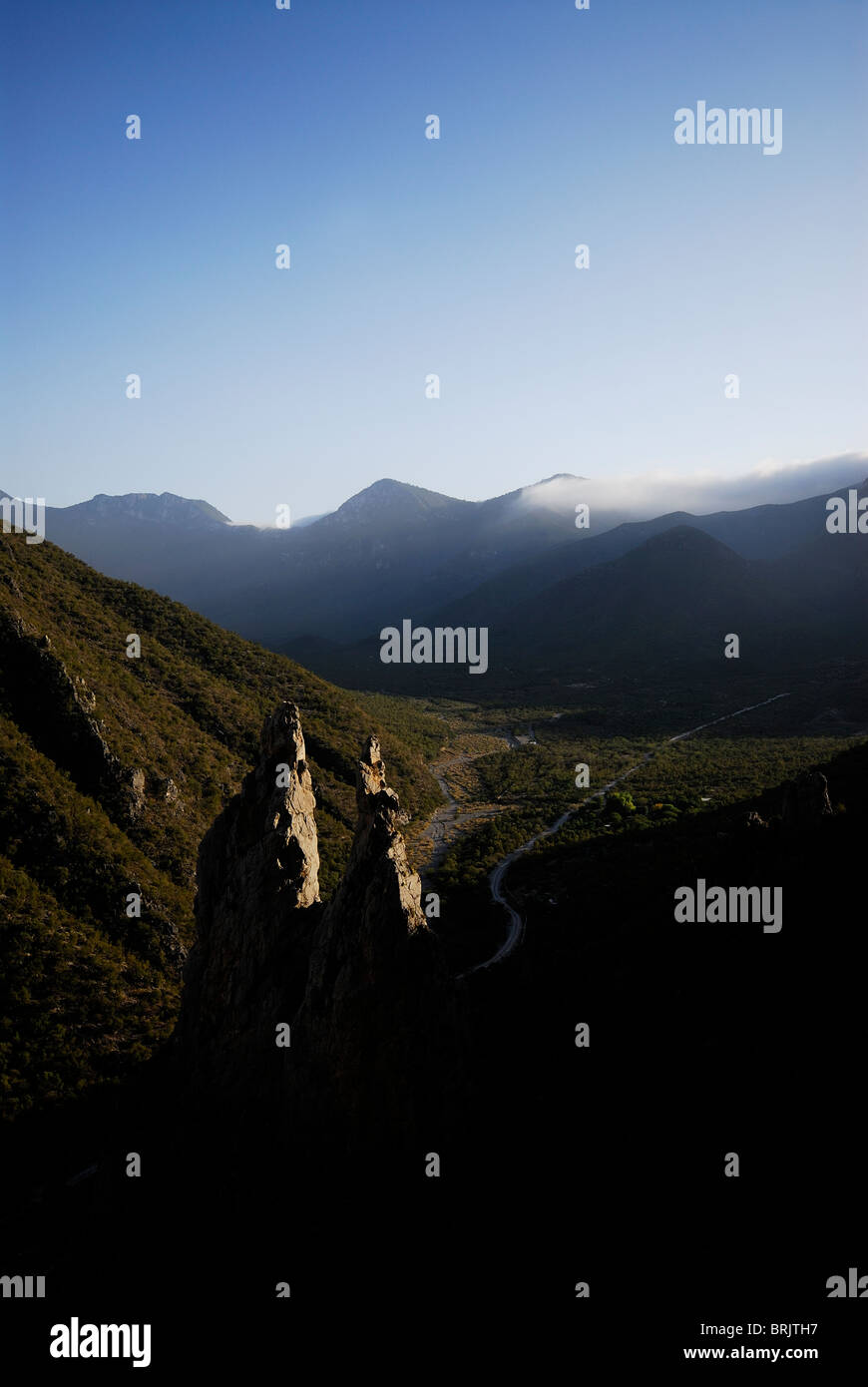 Rock spires in a mountain valley in Mexico. - Stock Image