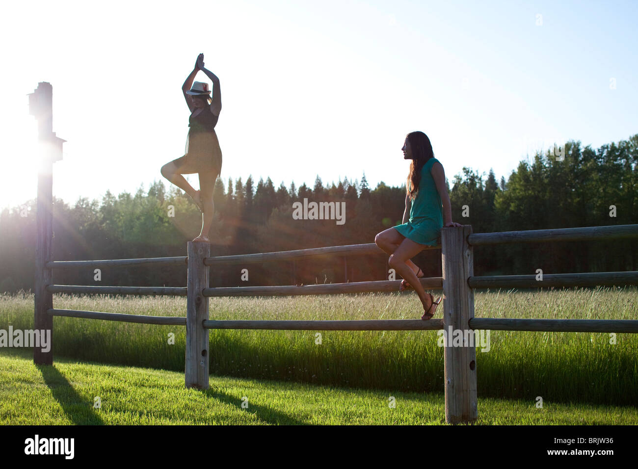 Two young women balancing on a wooden fence next to a green field. Stock Photo