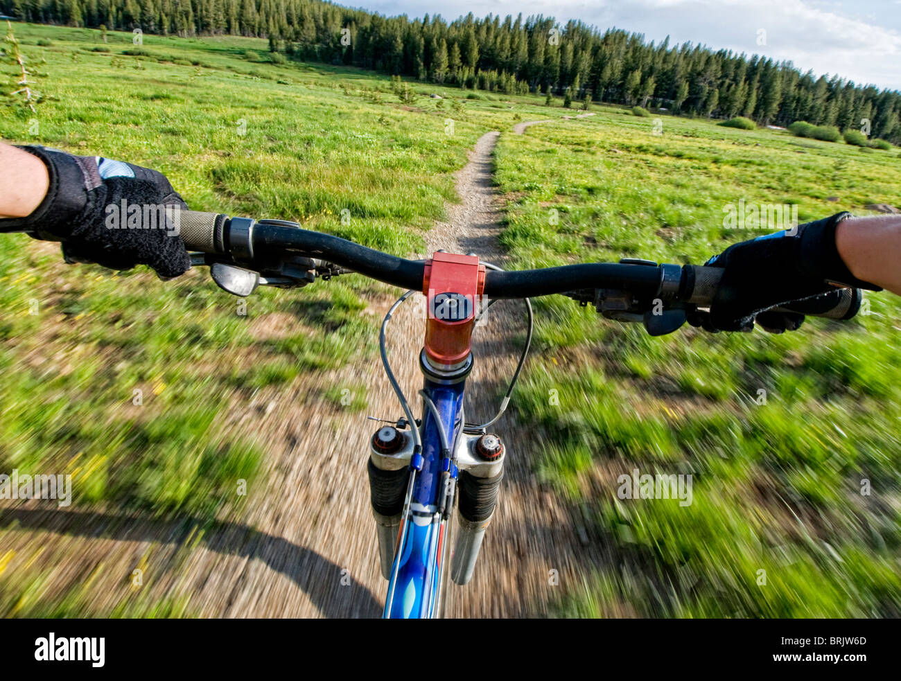 A young woman catches a quick mountain bike ride before the sun goes down in Lake Tahoe, Nevada. - Stock Image