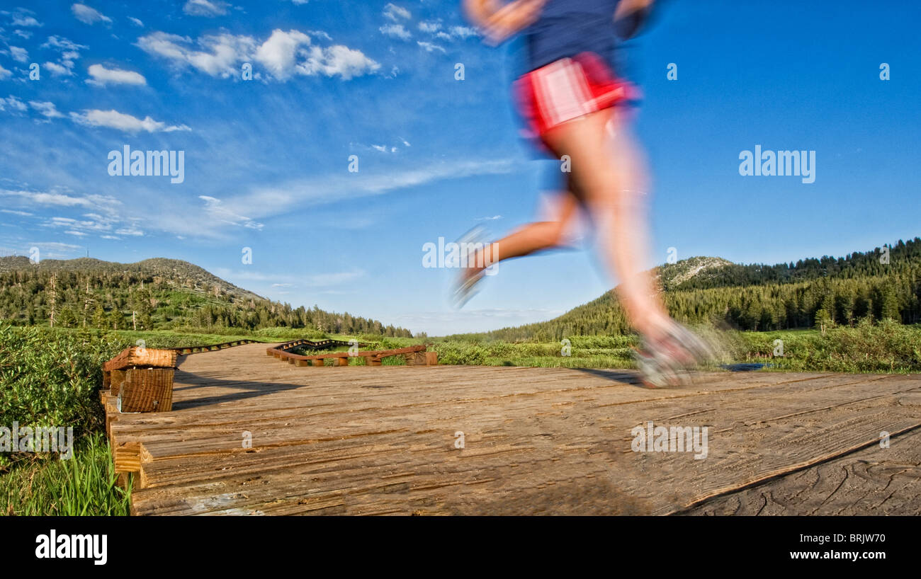 Heading in from an evening trail run, a young woman follows the wooden path back to the start in Lake Tahoe, Nevada. Stock Photo