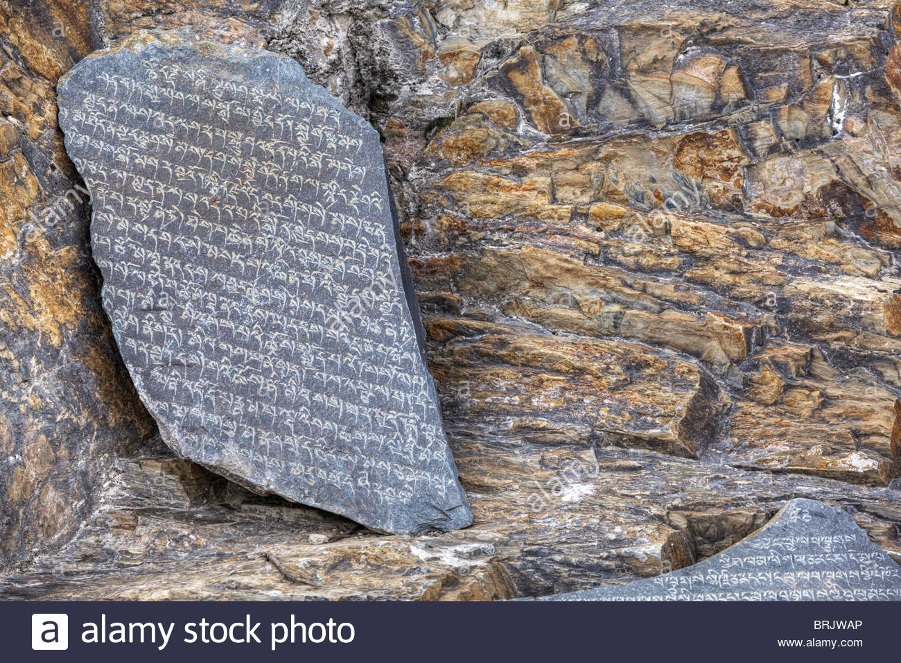 Fractured rock scripture found near the Potala Palace. - Stock Image