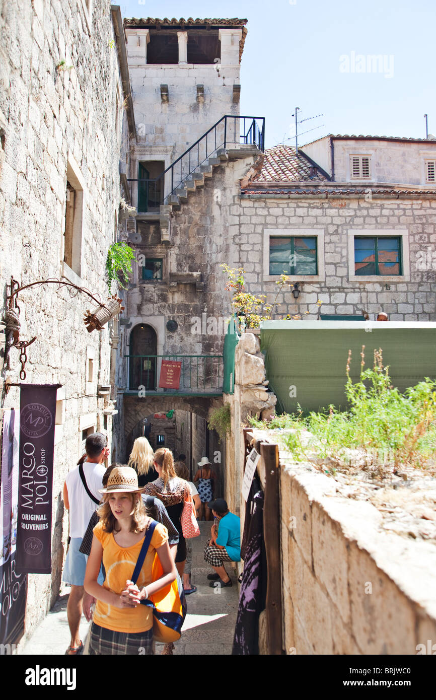 Marko Polo's alleged house of birth in Korcula, Dalmatian coast, Croatia - Stock Image