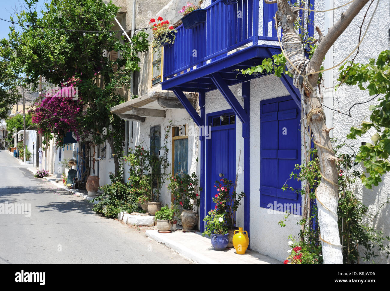 Typical street scene in the small town of Mirtos in southern Crete, Greece - Stock Image