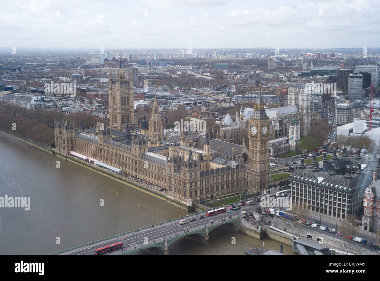 A birds eye view over the Thames of the Palace of Westminster (Houses of Parliament) and Westminster from the London - Stock Image