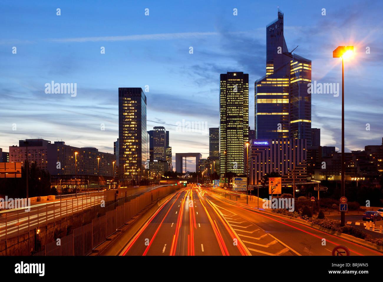 Financial District, La defense at Night - Stock Image